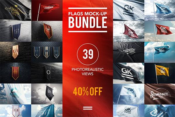3D Flag`s Bundle Mock-up