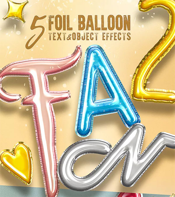 3D Foil Balloon Text Effects for Photoshop