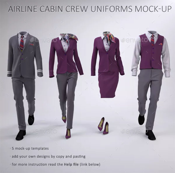 Airline and Hotel Staff Uniforms Mock-Up