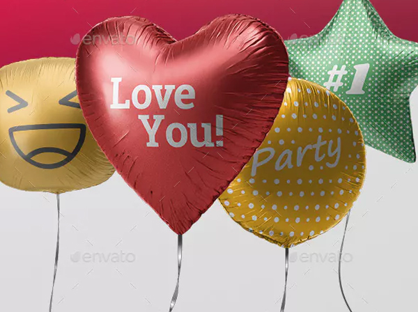 Balloon Heart Mockups Bundle