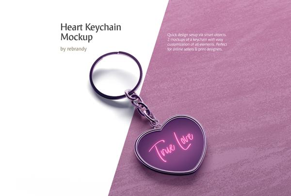 Best Heart Keychain Mockup