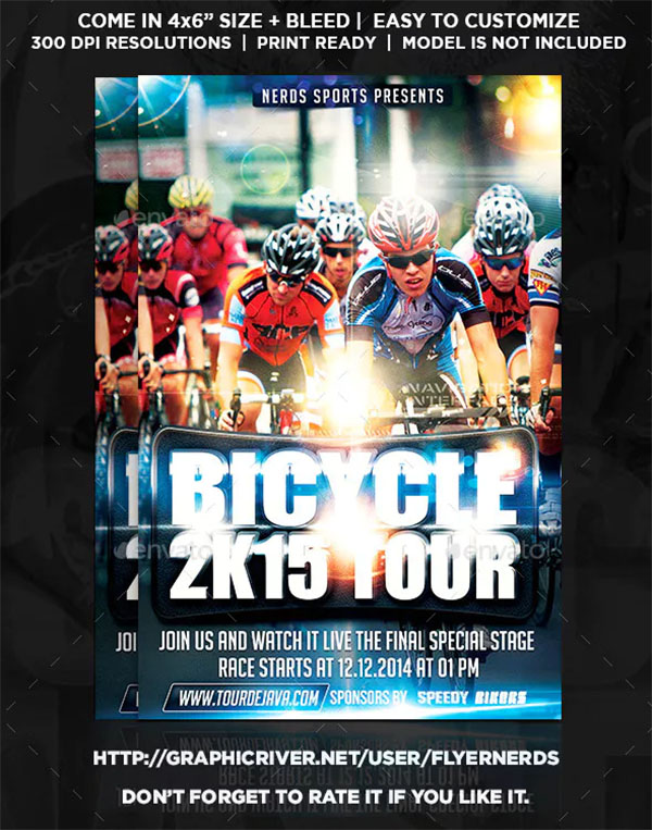 Bicycle 2K15 Tour Sports Flyer Template