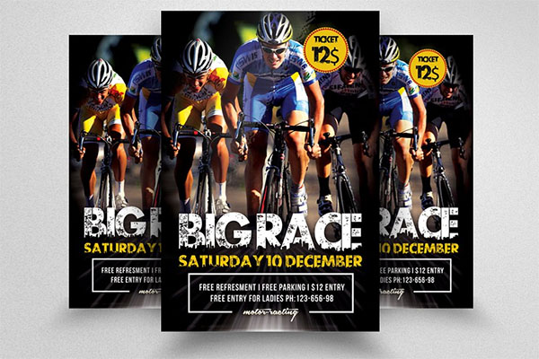 Bicycle Racing Design Flyer Templates