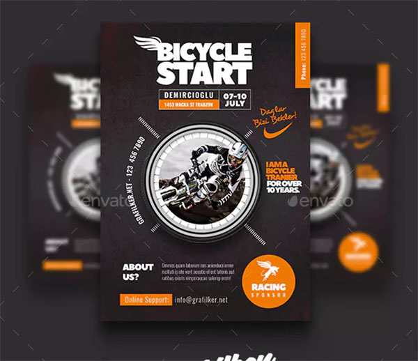 Bicycle Racing Flyer Design Templates