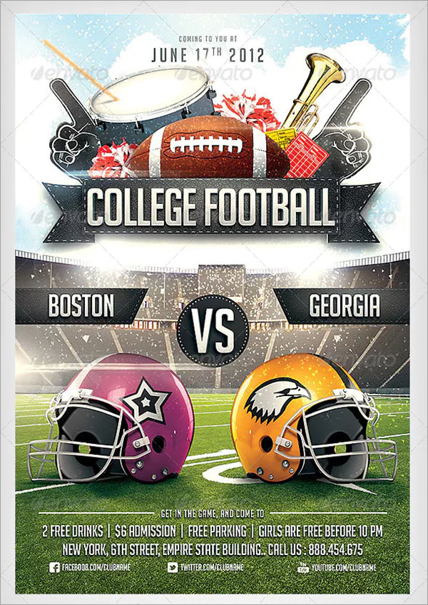 College PSD Football Flyer Template