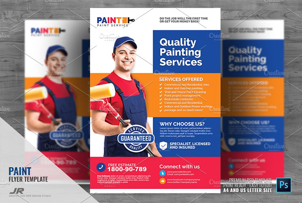Commercial Painting Service Editable Flyer