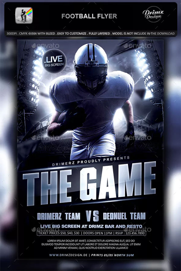 Costume Football Flyer Template