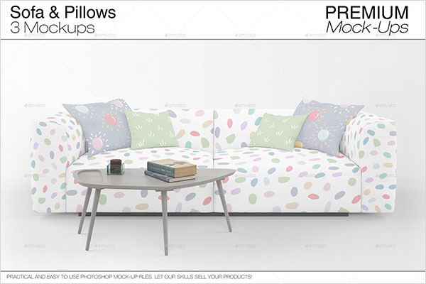 Custom Sofa & Pillows Mockup Pack