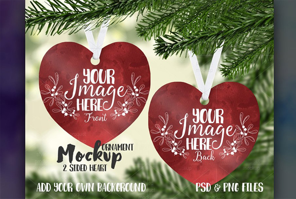 Double Sided Heart Ornament Mockup