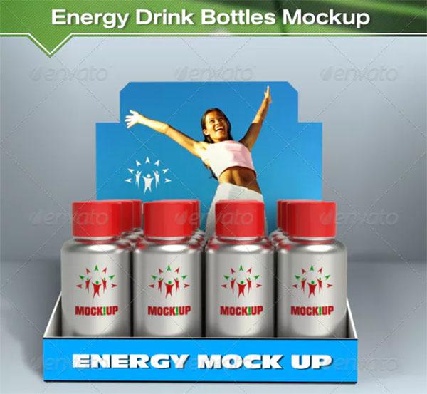 Energy Drink Bottles Mockup
