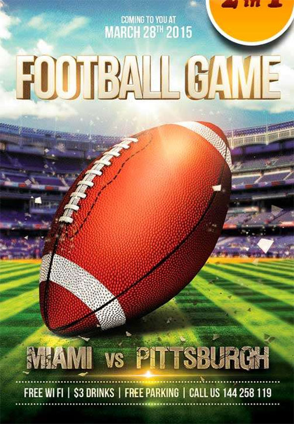 Football Game Free Flyer PSD Template