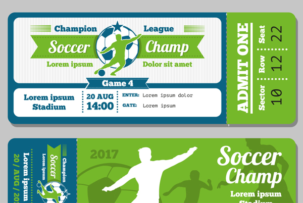 Football and Soccer Vector Ticket Template