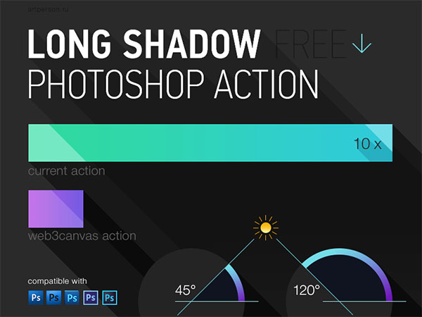 Free Long Shadow Photoshop Action
