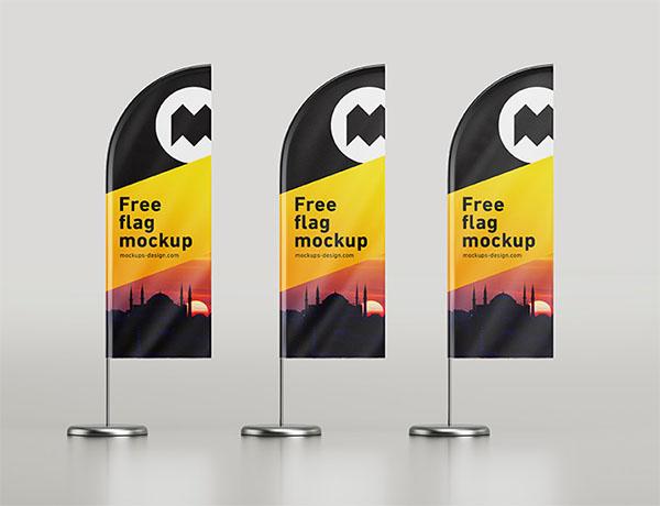 Free PSD Feather Flag Mockup