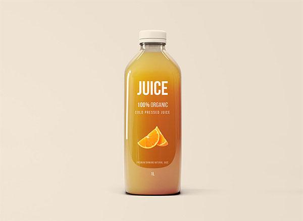 Free PSD Glass Juice Bottle Mockup