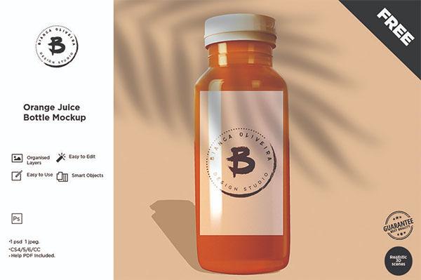 Free PSD Juice Bottle Mockup