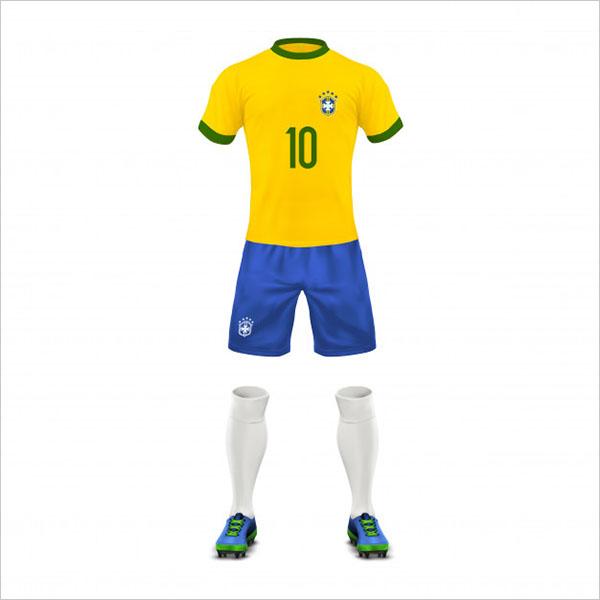 Free PSD Soccer Uniform Brazil Team