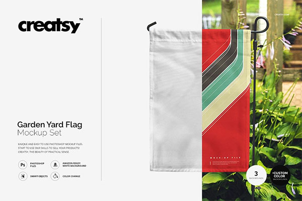 Garden Yard Flag Mockup Set