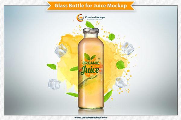 Glass Bottle for Juice Mockup