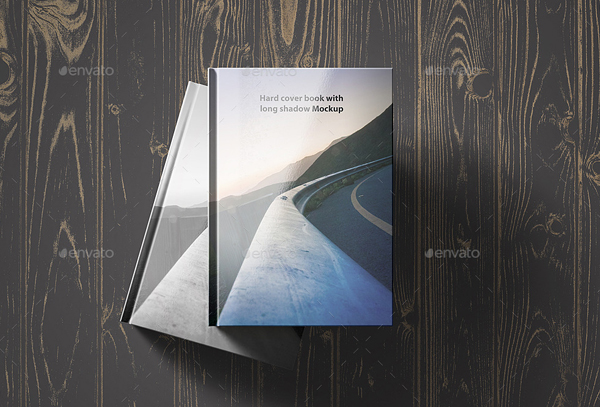 Hard Cover Book with Long Shadow Mockup
