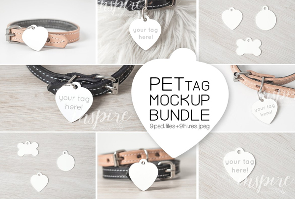 Heart Pet Tag Mockup