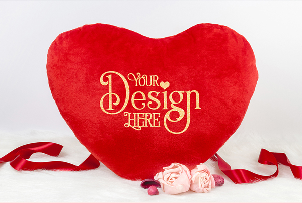 Heart Pillow Mock up for Valentine's day