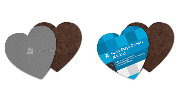 Heart Shape Coasters Mockup