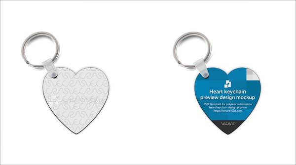 Heart Shape Key ring Design Mockup