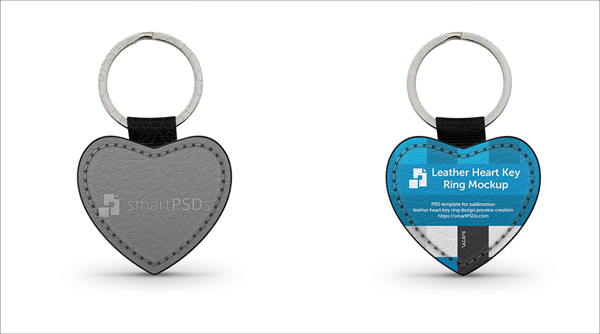 Heart Shape Leather Keyring Design Mockup