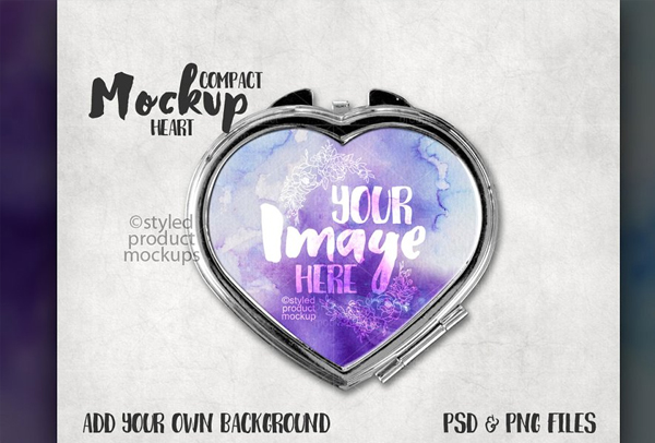 Heart Shaped Compact Mirror Mockup