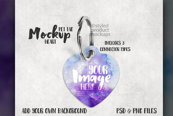 Heart Shaped Pet Tag Mockup
