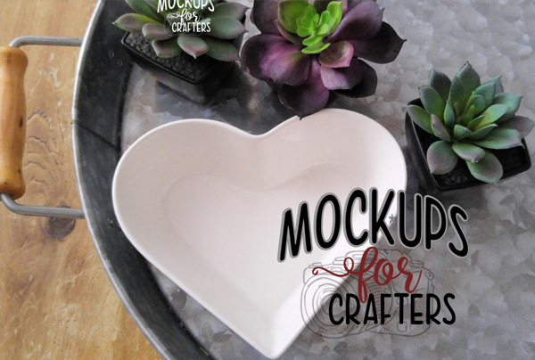 Heart Shaped Ring Dish Mockup