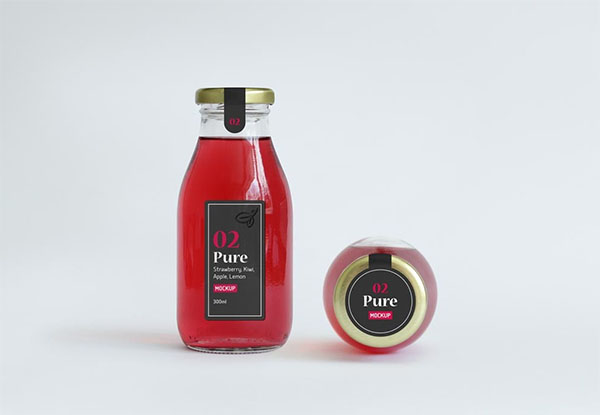 Juice Glass Free PSD Bottle Mockup