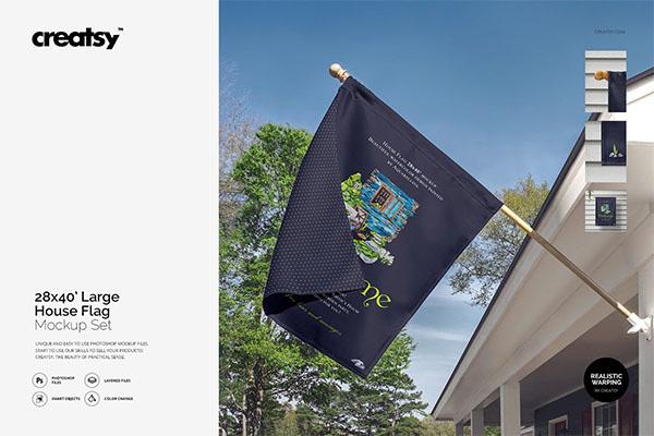 Large House Flag Mockup Set