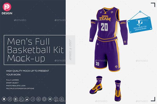 Mens Full Basketball Kit Jersey Mockup