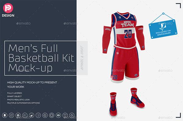 Mens Full Basketball Kit Mockup