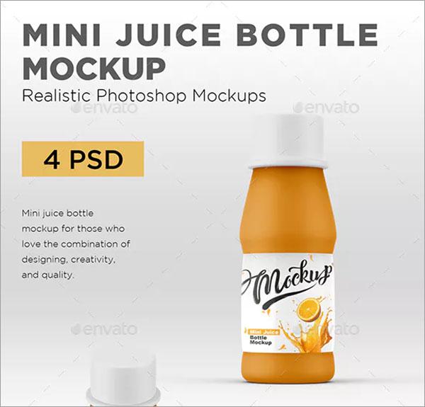 Mini Juice Bottle Mockup