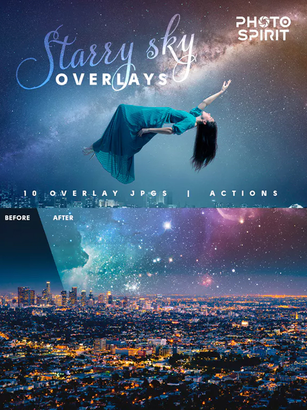Night Sky Starry Overlays and Actions