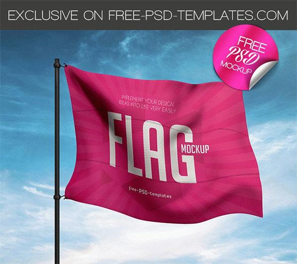 PSD Free Flag Mockup