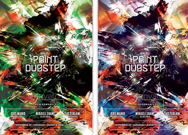 Paint Dubstep Flyer Template