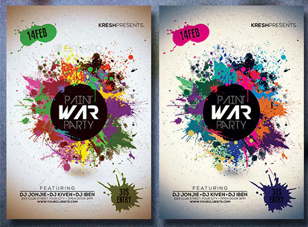 Paint War Party Flyer