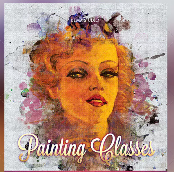 Painting Classes Flyer DVD Ticket Template