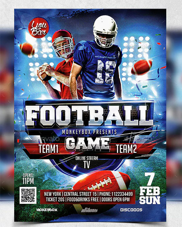 Print Football Flyer Template