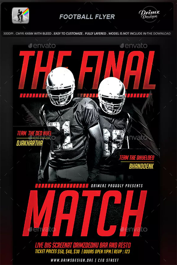 Print PSD Football Flyer