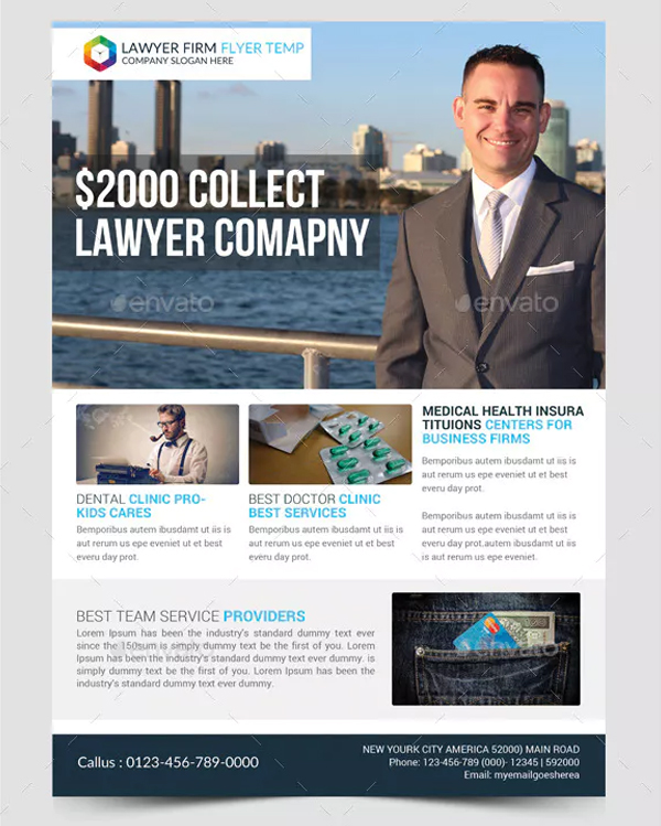 Printable Lawyer Firm Business Flyer Design Template