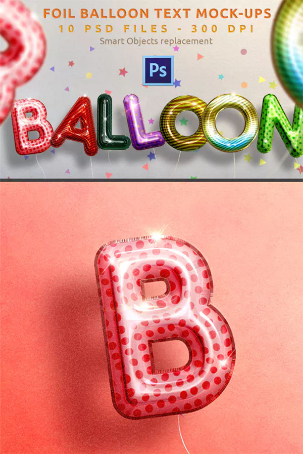 Realistic Balloon Text Mock-ups