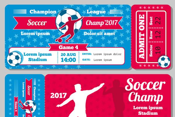 Retro Soccer Football Sports Vector Ticket