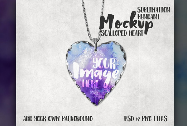 Scalloped Edge Heart Pendant Mockup