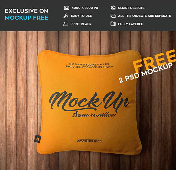 Square Pillow Free PSD Mockups