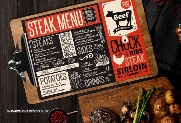 Steak Food Menu Brochure Design